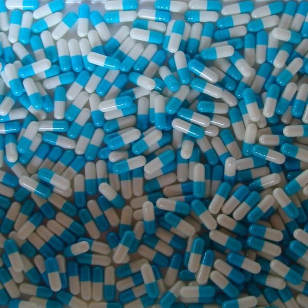 Aqua and White Empty Gelatin Capsules